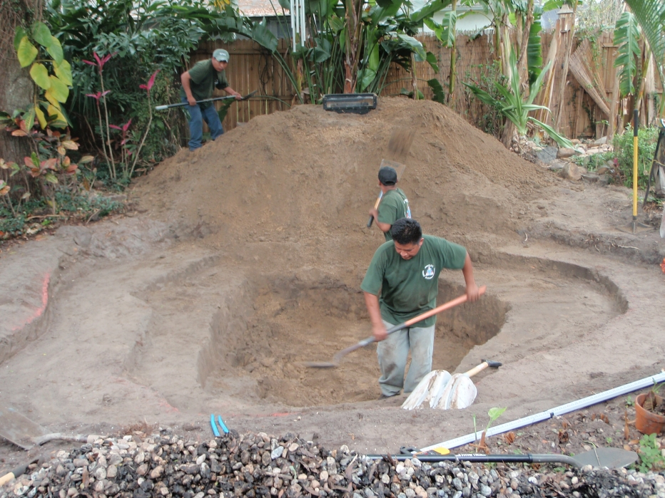 Koi pond construction before doyle land systems for Fish pond construction and design